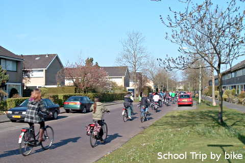 Children on a school trip / outing by bike.